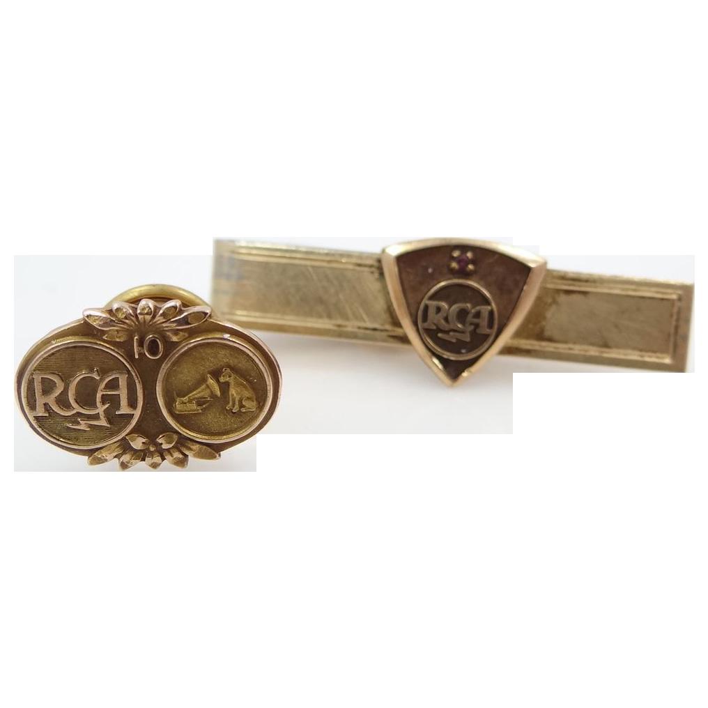 10k Gold RCA 10 Yr. Service Tie Tack & GF Tie Bar