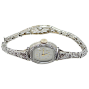 Belais 18k & Diamonds Watch on Custom Gold & Diamond Filigree Bracelet