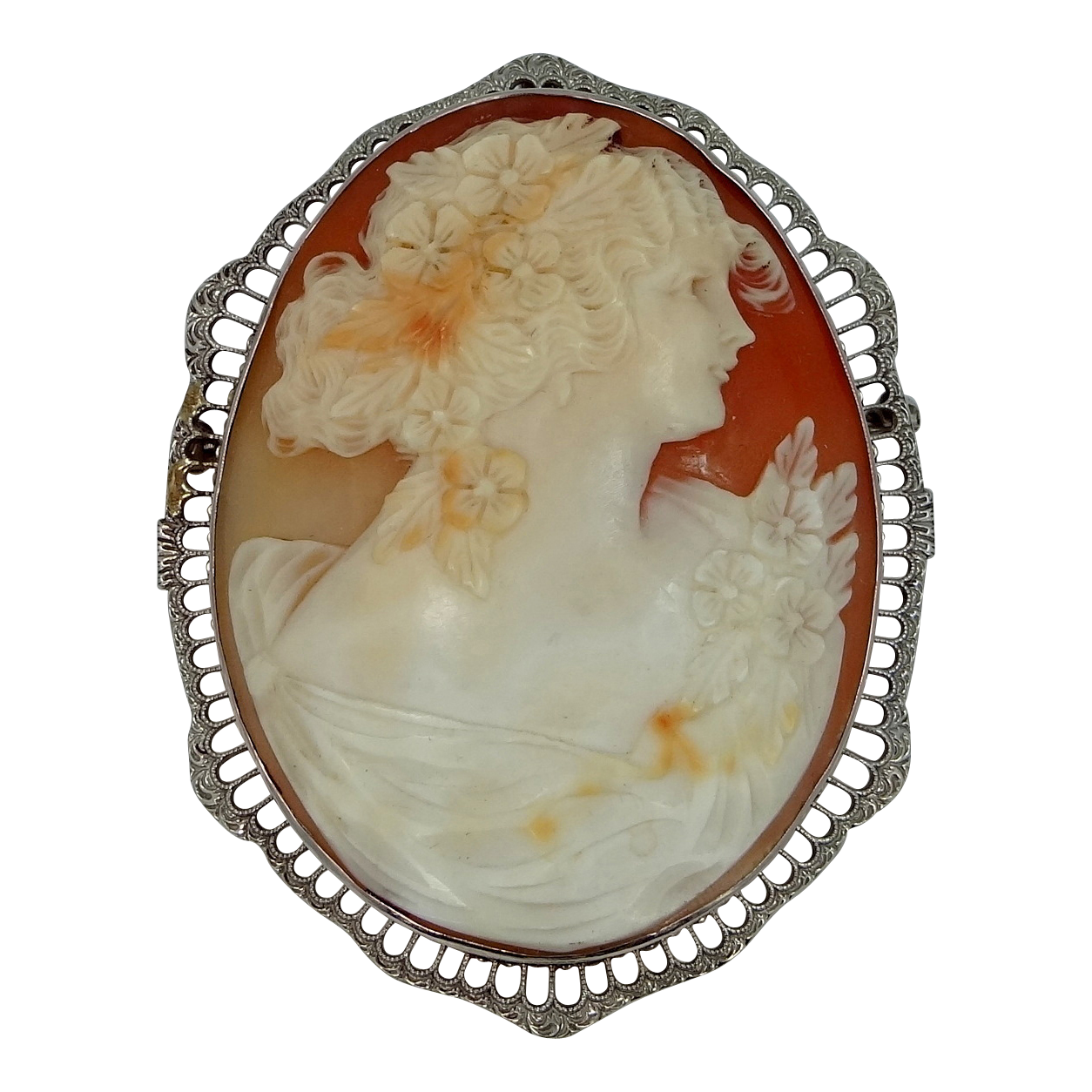 Large 10k White Gold Filigree Cameo Brooch / Pendant