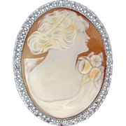 Rhodium Filigree Carved Shell Cameo Pin / Pendant Art Deco