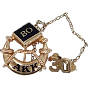 10k Gold 1930 Alpha Kappa Kappa Fraternity Pin BO Chapter