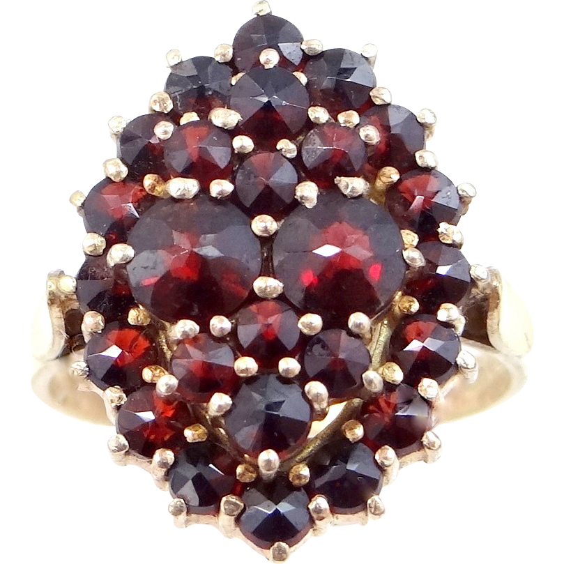 1950's Czeck 900 Silver Vermeil & Genuine Garnets Ladies Ring