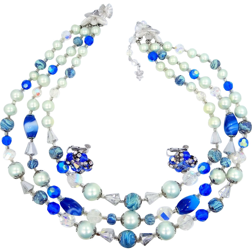 Vendome 3 Strand Blue Art Glass Necklace & Earrings