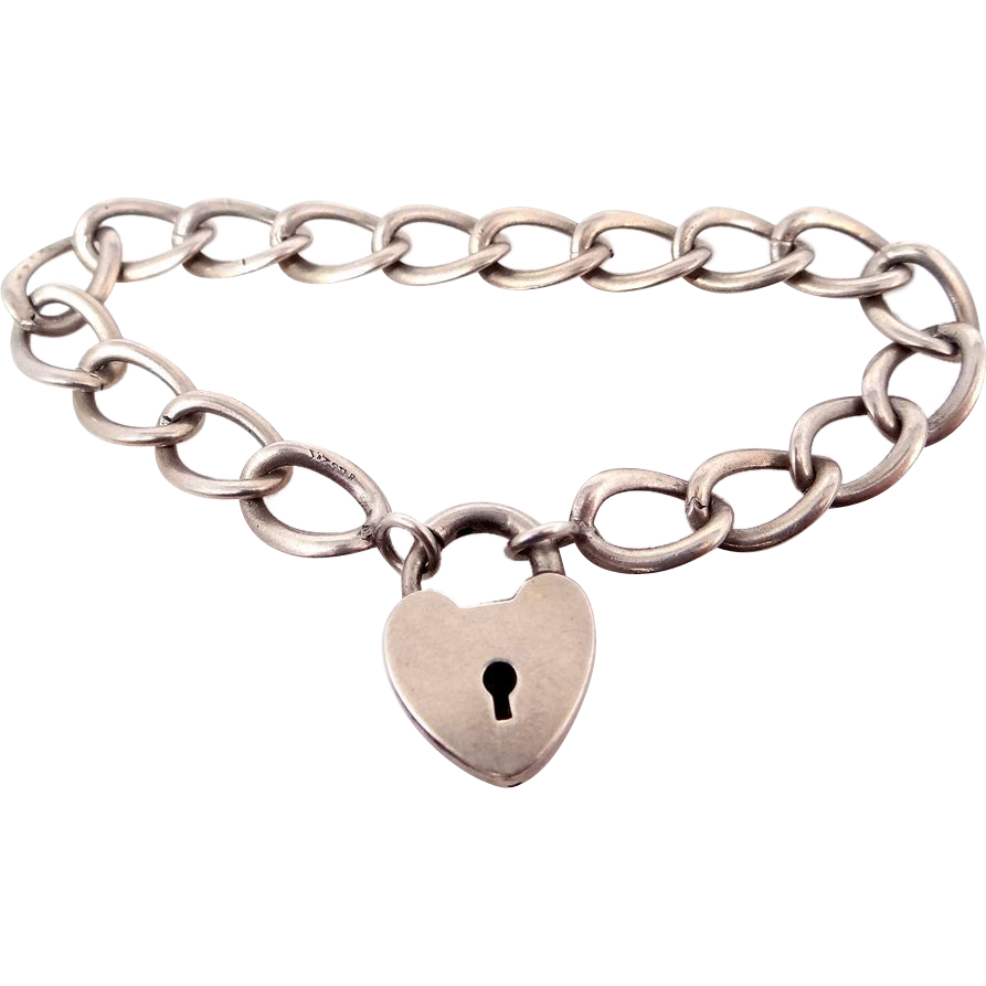 1880's Ballou Sterling Silver Lock Heart Clasp Bracelet