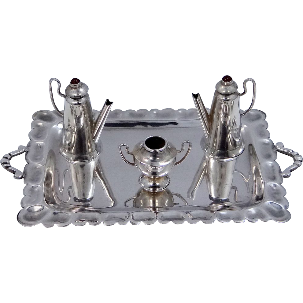 Lilyan Mexico Sterling Miniature Tray & Tea Set Doll House Accessories