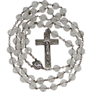1920's Sterling & Crystal Rosary Very Large