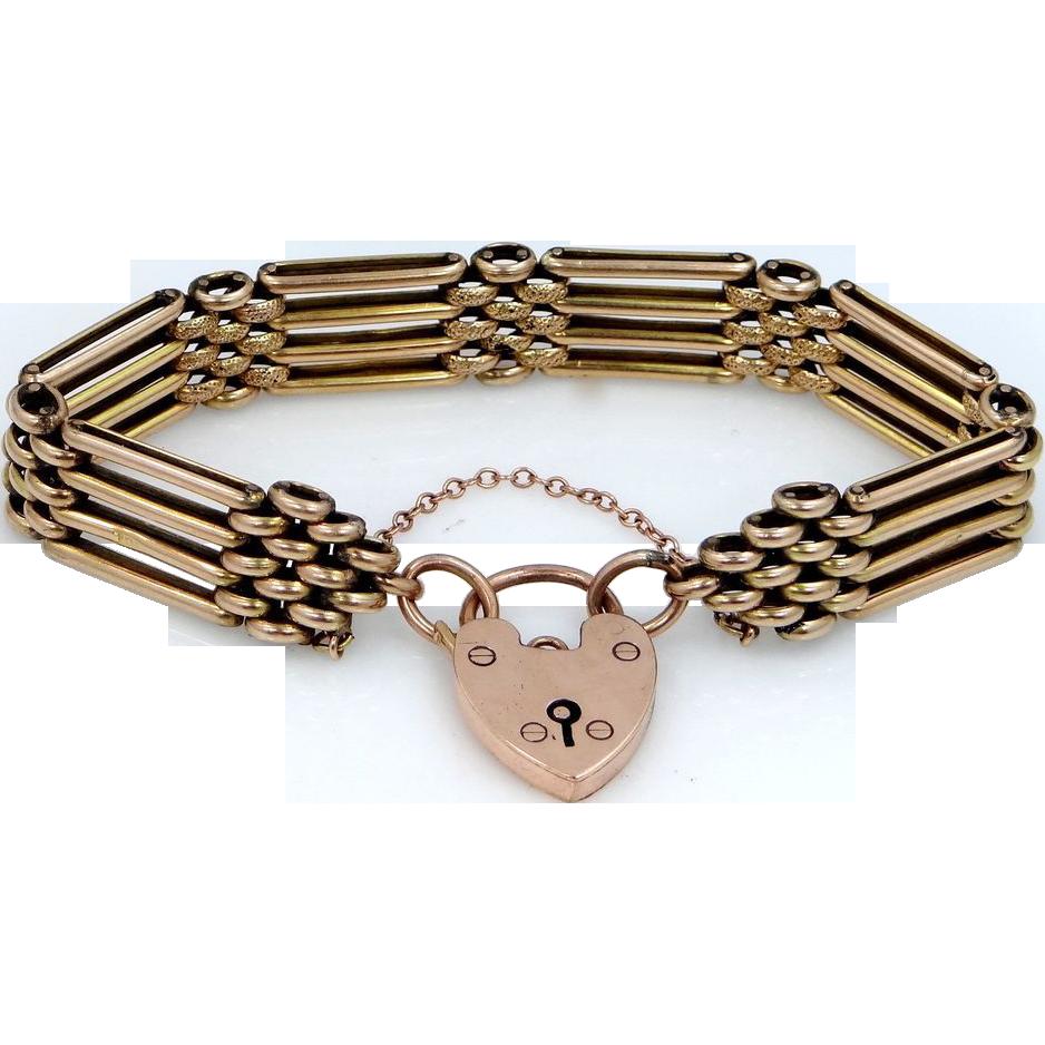 Heavy Victorian 9k Gold Locking Heart Clasp Bracelet