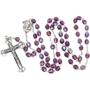 Vintage Amethyst Carnival Glass Rosary