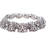 Trifari kTf Alfred Philippe Baguettes and Geometric Pave Scrolls Deco Link Bracelet