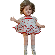 "1934 Ideal Shirley Temple 18"" Composition Doll Tagged Dress A/O"