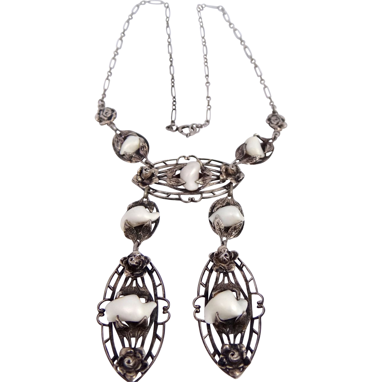 Art Nouveau Sterling Silver Filigree Necklace With Pearl (s)