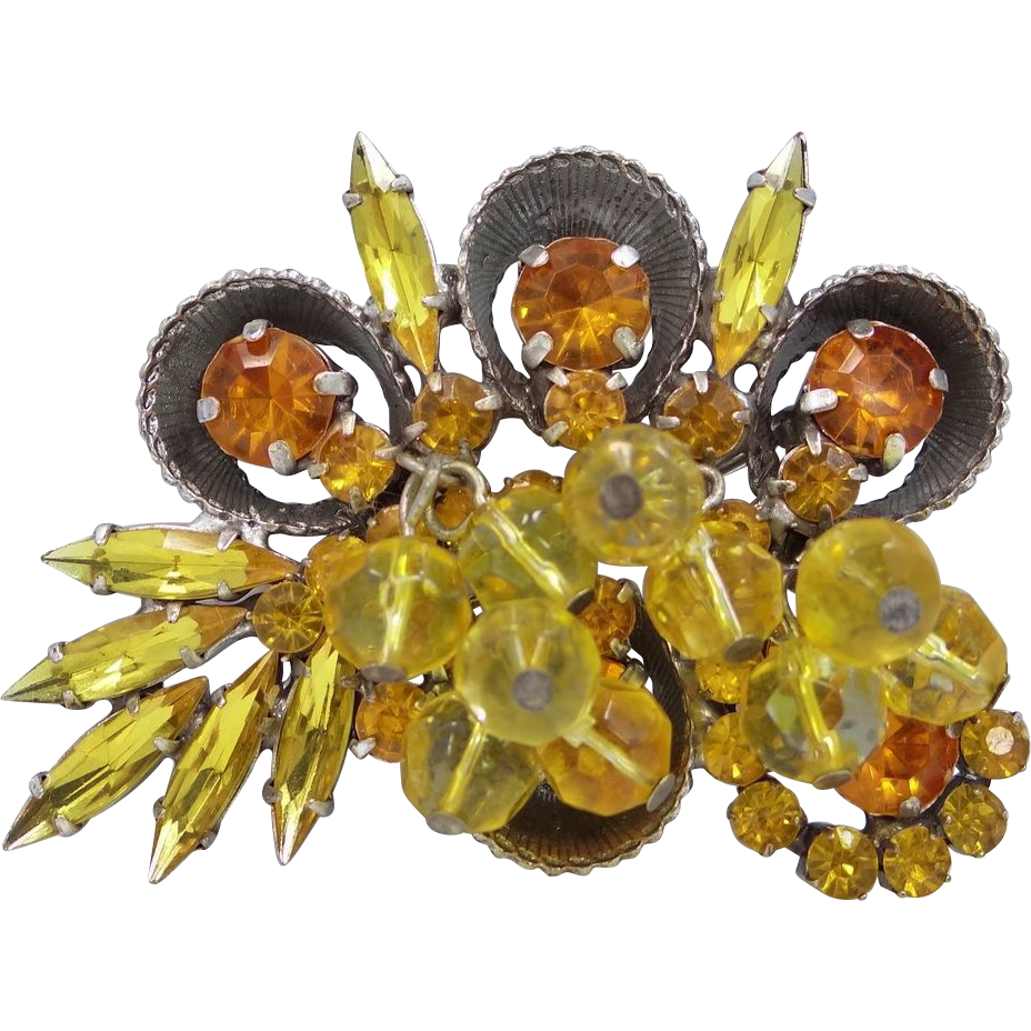 Juliana D & E Half Cup W/Dangling Yellow Beads & Topaz Rhinestones Pin