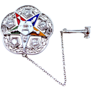 14k White Gold & 1/2 tcw Diamonds 1958-59 Past Worthy Matron Order of the Eastern Star Pin