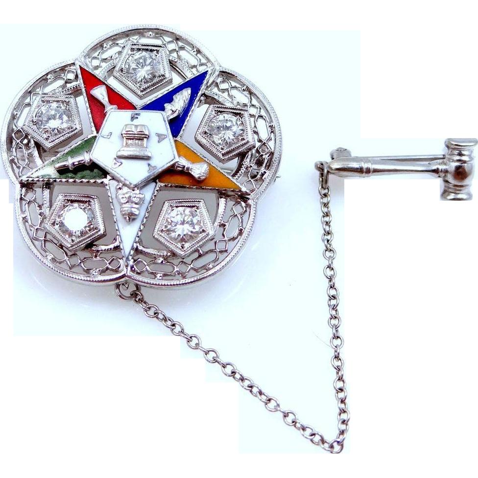 14k White Gold & 1/2 tcw Diamonds 1958-59 Past Worthy Matron Order of the Eastern Star Pin