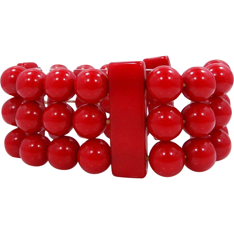 Chunky & Rich Red Bakelite Bars & Beads Bracelet