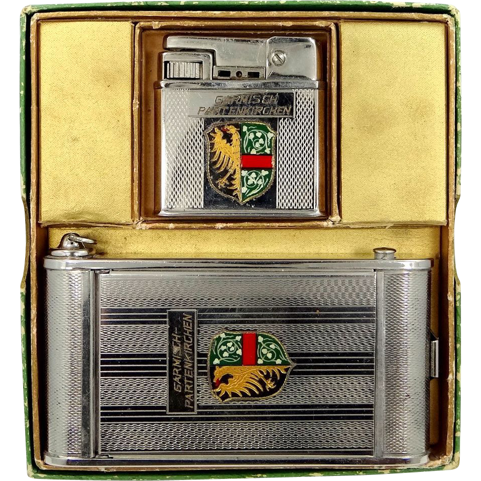 Garmisch-Partenkirchen Germany Souvenir Lighter, Camera Shaped Cigarette, Compact & Lipstick w/Box