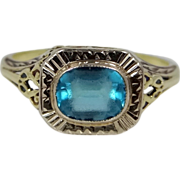 14k Gold Filigree Art Deco Ring Blue Paste Stone