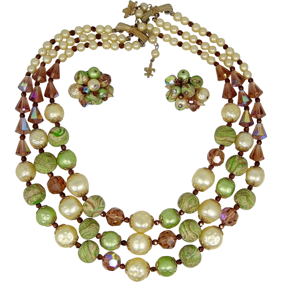 Vendome Art Glass Triple Strand Necklace & Matching Earrings