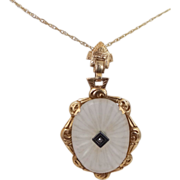 10k Gold, Diamond & Camphor Glass Necklace