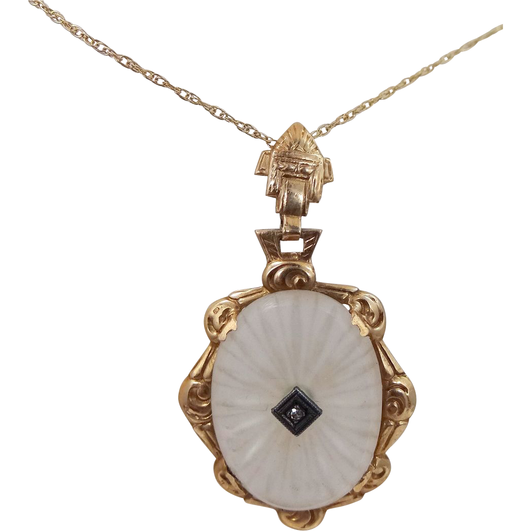 10k gold diamond camphor glass necklace from mur sadies for 10k gold jewelry