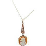 10k Gold Art Deco Cameo Necklace