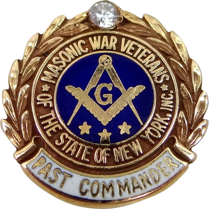 Rare 14k Gold & Diamond Masonic War Veteran Past Commander Pin