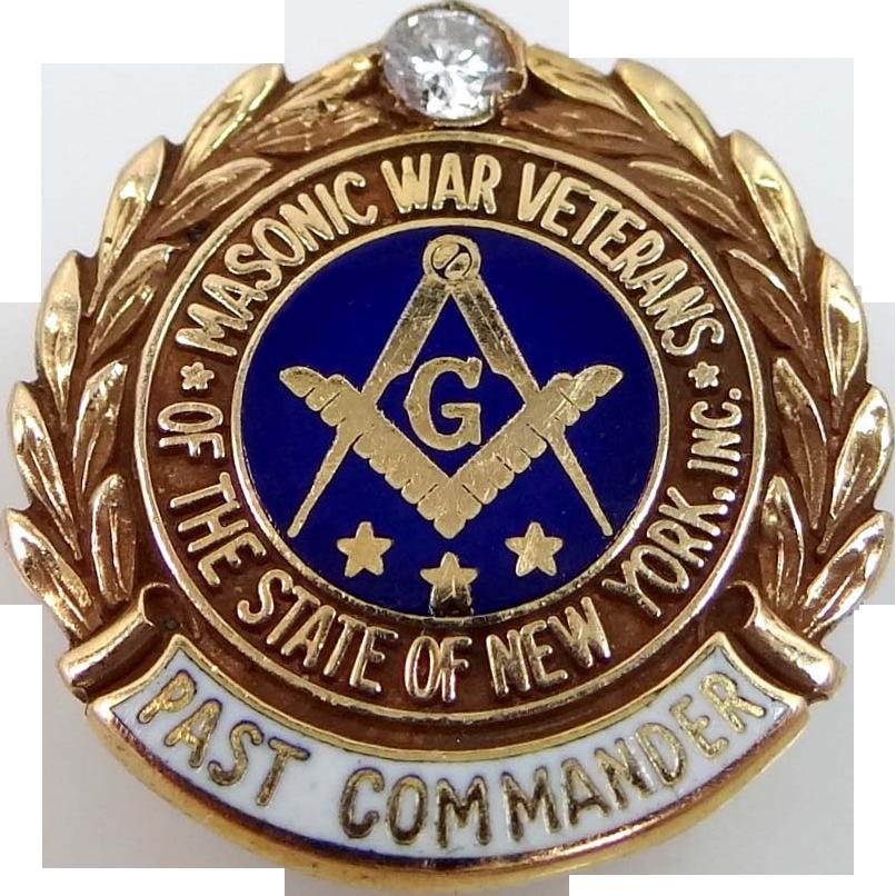 Rare 14k Gold & Diamond Masonic War Veteran Past Commander Pin