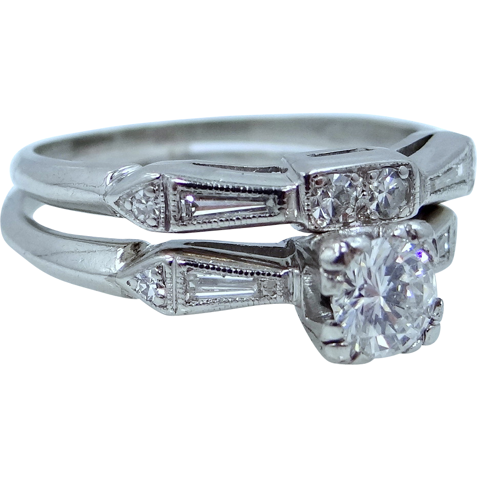 Platinum Diamonds 1tcw Wedding Ring Set Circa 1930's