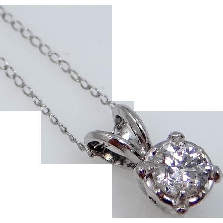 14k White Gold 1/2 Carat Diamond Solitaire Necklace