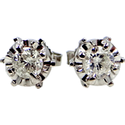 14k White Gold 1/2 tcw Diamond Stud Earrings