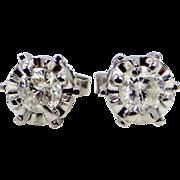 14k White Gold 1/2 tcw Diamond Stud Earrings