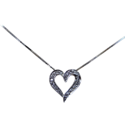 14k White Gold Diamond Heart Shaped Necklace