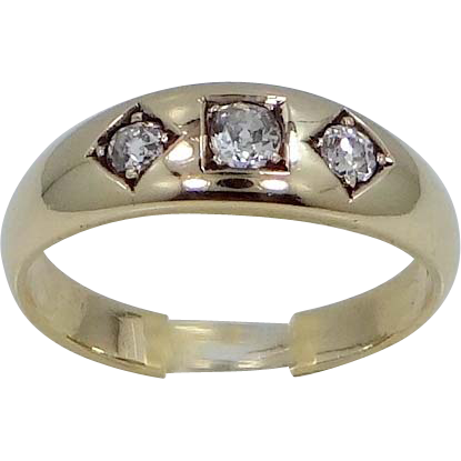 14k Gold 3 Diamond Man's Ring Cushion Cut Diamonds 1920's