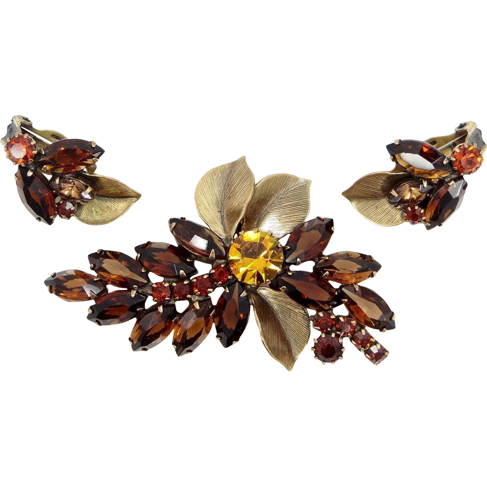 Weiss Smokey Topaz Glass Pin & Earrings with Metal Accent Leaves