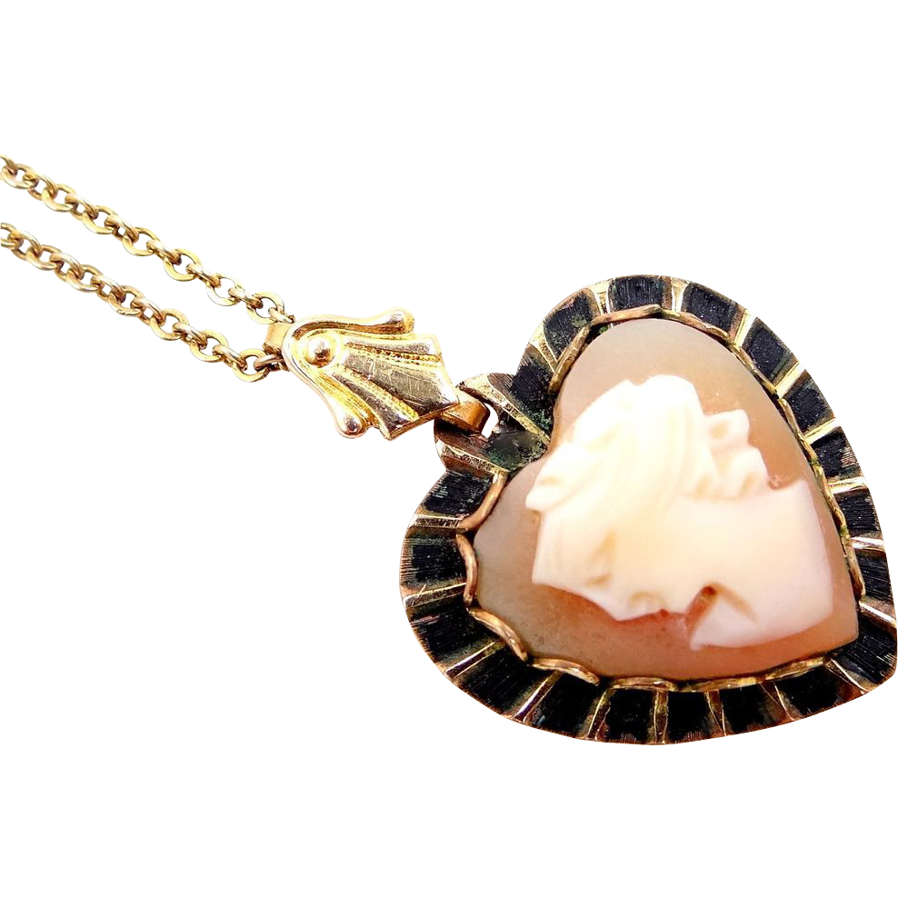 Sterling Vermeil Heart Shaped Cameo Necklace