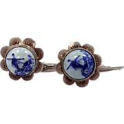 Vintage 835 Silver Delft Cufflinks Cuff Links