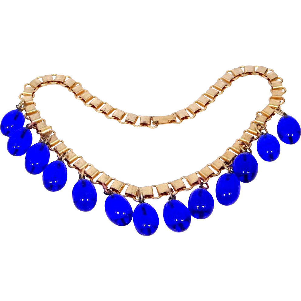 Coro Cobalt Blue Glass Runway Necklace Bookchain Very Early