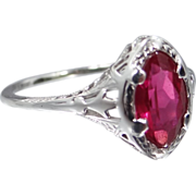 14k White Gold Filigree Synthetic Ruby Art Deco Ring
