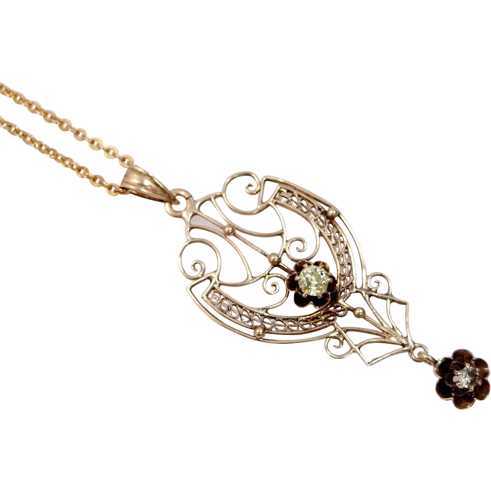 Victorian 10k Gold Filigree Necklace With 2 Diamonds