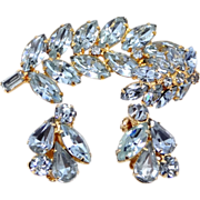 Kramer Aqua Rhinestones Brooch & Matching Earrings