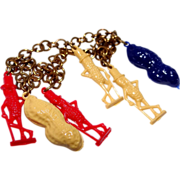 1940's Mr. Peanut Celluloid Charm Bracelet