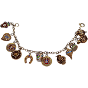 Portugal 833 Silver & Enamel Filigree 12 Charm Bracelet