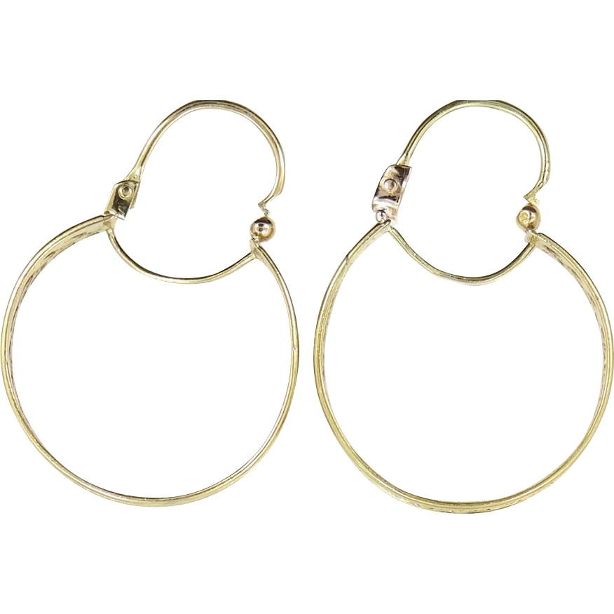 "Vintage 14k Gold Hoop Earrings Nice Woven Design 1 1/2"" Long"