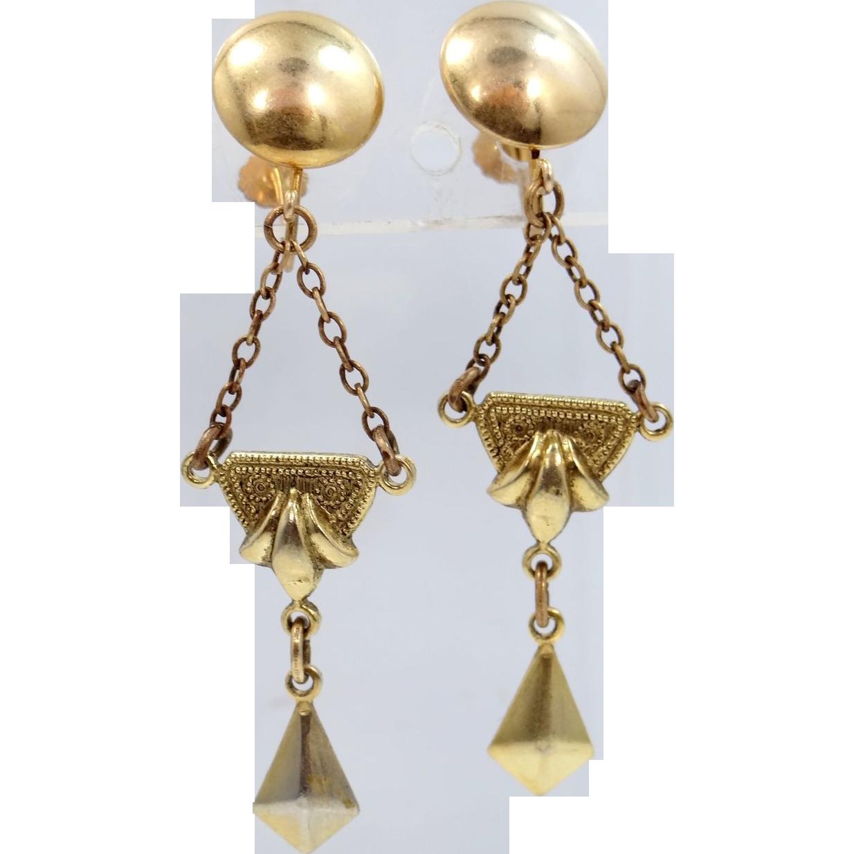 Early 1900's Gold Filled Dangle Screw Back Earrings