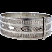 Sterling Charles Horner Chester Buckle Style Bangle Bracelet