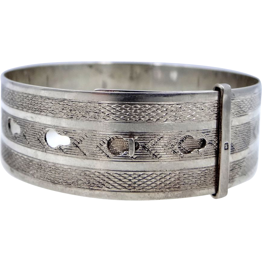 Sterling Charles Horner Chester Buckle Style Bangle Bracelet