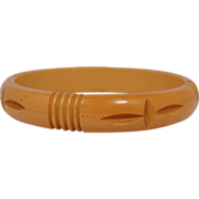"1/2"" Wide Bakelite Carved Butterscotch Bangle Bracelet"