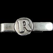 """Perlita Mexico Sterling Silver """"R"""" Tie Bar"""