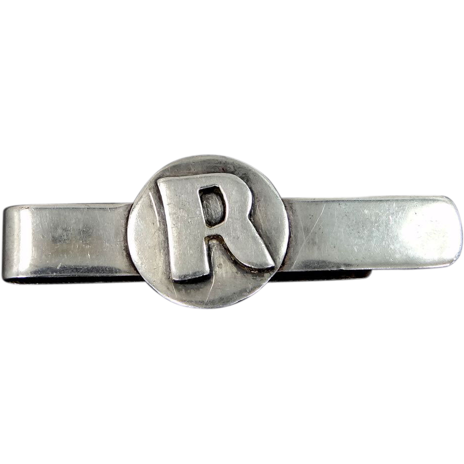 "Perlita Mexico Sterling Silver ""R"" Tie Bar"