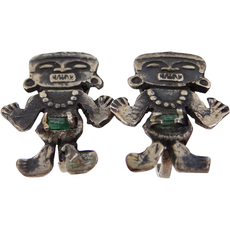 1940's Bogota Columbian Emeralds 900 Silver Earrings